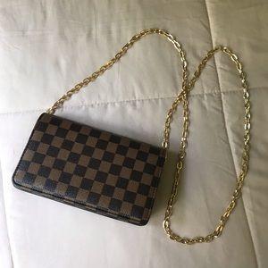 Brown Checkered Crossbody